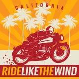 Плакат мотоцикла с текстом Калифорнией, ездой как ветер Стоковые Изображения