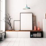 Плакат модель-макета в интерьере Жить в просторной квартире иллюстрация штока