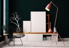 Плакат модель-макета в интерьере Жить в просторной квартире иллюстрация вектора