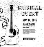 Плакат музыки гитары Эскиз нарисованный рукой также вектор иллюстрации притяжки corel Стоковая Фотография RF