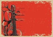 Плакат музыки кантри с ковбойской шляпой и гитарой на винтажном столбе