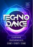 Плакат музыки Techno Музыка электронного клуба глубокая Музыкальный звук транса диско события Приглашение партии ночи Плакат рогу бесплатная иллюстрация