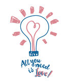 Плакат на день валентинки с лампочкой и сердце в стиле эскиза Стоковое фото RF