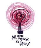 Плакат на день валентинки с лампочкой и сердце в стиле эскиза Стоковые Фотографии RF