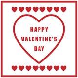 Плакат дня валентинки простой ретро на белой предпосылке Стоковые Фотографии RF