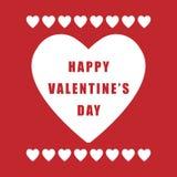 Плакат дня валентинки простой ретро на красной предпосылке Стоковая Фотография RF