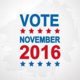 Плакат дня выборов США 2016 Стоковое Изображение RF
