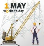 Плакат дня работников белый, промышленная предпосылка иллюстрация штока