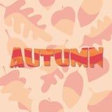 Плакат осени с волнами и покрашенными листьями Стоковые Изображения