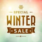 Плакат оформления специальной продажи зимы винтажный Стоковое Изображение