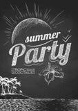 Плакат партии лета Чертежи мела иллюстрация штока