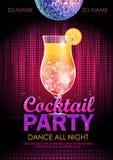 Плакат партии коктеиля Стоковые Фотографии RF