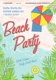 Плакат партии пляжа тропический красочный Стоковые Изображения