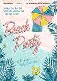 Плакат партии пляжа тропический красочный Стоковая Фотография RF
