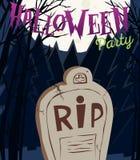 Плакат партии хеллоуина с надгробной плитой и луной также вектор иллюстрации притяжки corel Стоковая Фотография RF