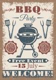Плакат партии BBQ покрашенный годом сбора винограда Стоковое Фото