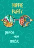 Плакат партии Hippie Предпосылка хиппи с стеклами солнца Стоковое Изображение