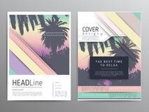 Плакат пальмы и печать, тропическая реклама предпосылки Стоковые Изображения