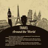 Плакат перемещения по всему миру ретро Стоковая Фотография