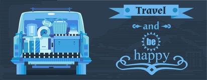 Плакат перемещения с автомобилем Стоковое Фото