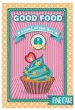 Плакат пирожного Ретро конструкция сбора винограда Стоковая Фотография