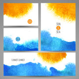 Плакат предпосылки моря акварели или шаблон карточки Стоковое Изображение