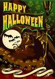 Плакат приглашает для партии хеллоуина Стоковые Изображения