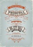Плакат приглашения фестиваля Grunge Стоковая Фотография