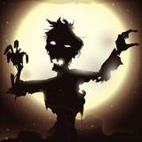 Плакат при зомби поднимая в ночу полнолуния, иллюстрация вектора иллюстрация вектора