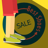 Плакат ПРОДАЖИ, идущие ботинки Стоковая Фотография RF