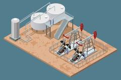 Плакат производственных объектов добычи нефти равновеликий иллюстрация штока