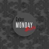 Плакат продажи понедельника кибер, знамя маркетинга рекламы предложения зимы, темная предпосылка магазина рогульки снежинок Стоковые Фотографии RF