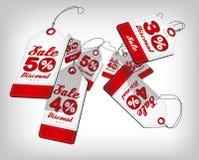 Плакат продажи с ценниками при проценты понижаясь и летая Красное событие шаблона дизайна для продажи также вектор иллюстрации пр Стоковое Изображение RF