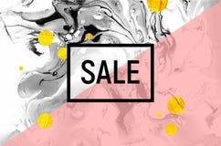 Плакат продажи Черно-белое мраморное Baclground Розовая нашивка, круги сусального золота Стоковое Изображение