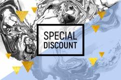 Плакат продажи Черно-белый мрамор Голубая нашивка, треугольники сусального золота также вектор иллюстрации притяжки corel Стоковое Фото