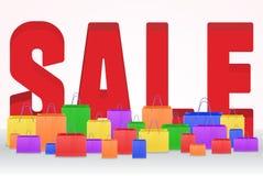 плакат продажи 3d с хозяйственными сумками Стоковые Изображения