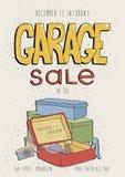 Плакат распродажи старых вещей, приглашение события Иллюстрация нарисованная рукой красочная с старыми товарами Камера, телефон,  Стоковая Фотография