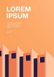 Плакат рекламы с абстрактной архитектурой Оранжевый вертикальный плакат с местом для текста вектор предпосылки цветастый иллюстрация штока
