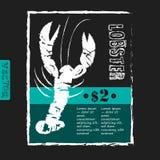 Плакат ресторана морепродуктов на доске Стоковое фото RF