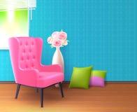 Плакат розового стула реалистический внутренний бесплатная иллюстрация