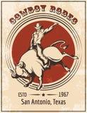 Плакат родео ковбоя иллюстрация вектора