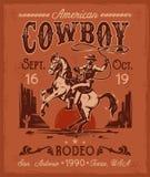 Плакат родео при ковбой сидя на поднимать лошадь в ретро стиле иллюстрация штока