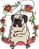 Плакат собаки мопса Стоковая Фотография
