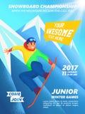 Плакат события чемпионата сноуборда Snowboarder скачет Стоковые Фотографии RF
