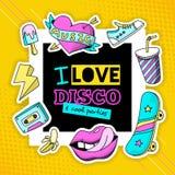 Плакат состава диско заплаты моды холодный бесплатная иллюстрация