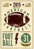 Плакат стиля grunge американского футбола типографский винтажный вектор иллюстрации ретро Стоковые Изображения