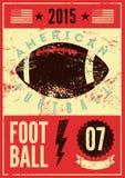 Плакат стиля grunge американского футбола типографский винтажный вектор иллюстрации ретро Стоковая Фотография