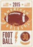 Плакат стиля grunge американского футбола типографский винтажный вектор иллюстрации ретро Стоковое Изображение