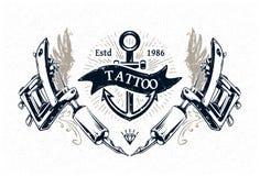 Плакат студии татуировки иллюстрация вектора