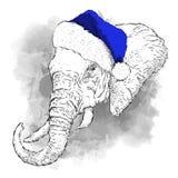 Плакат с слоном изображения, портрет рождества в шляпе ` s Санты также вектор иллюстрации притяжки corel Стоковое Фото